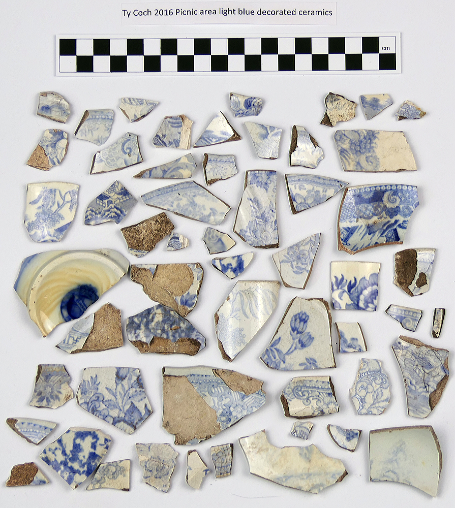 Material from picnic area: light blue ceramics